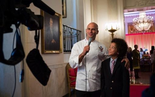 Sam Kass interviews Kids' State Dinner guest Samuel Hightower