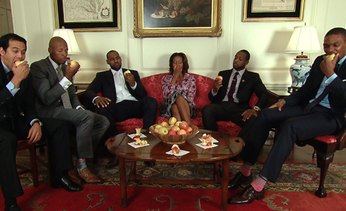 The First Lady teams up with LeBron James, Dwyane Wade, Chris Bosh & Ray Allen