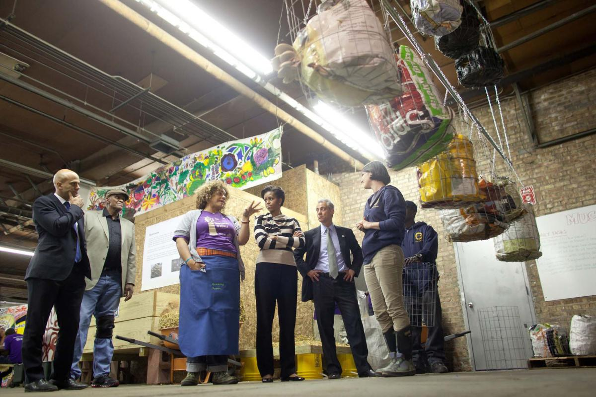 First Lady Michelle Obama tours Iron Street Farm in Chicago, Ill., Oct. 25, 2011.