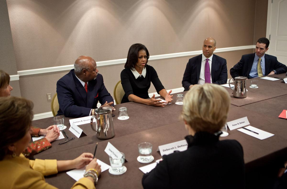 First Lady Michelle Obama meets with the Partnership for a Healthier America