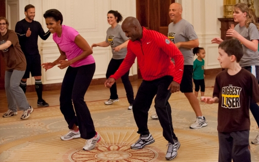 Mrs. Obama hosts Biggest Loser contestants for a White House workout.