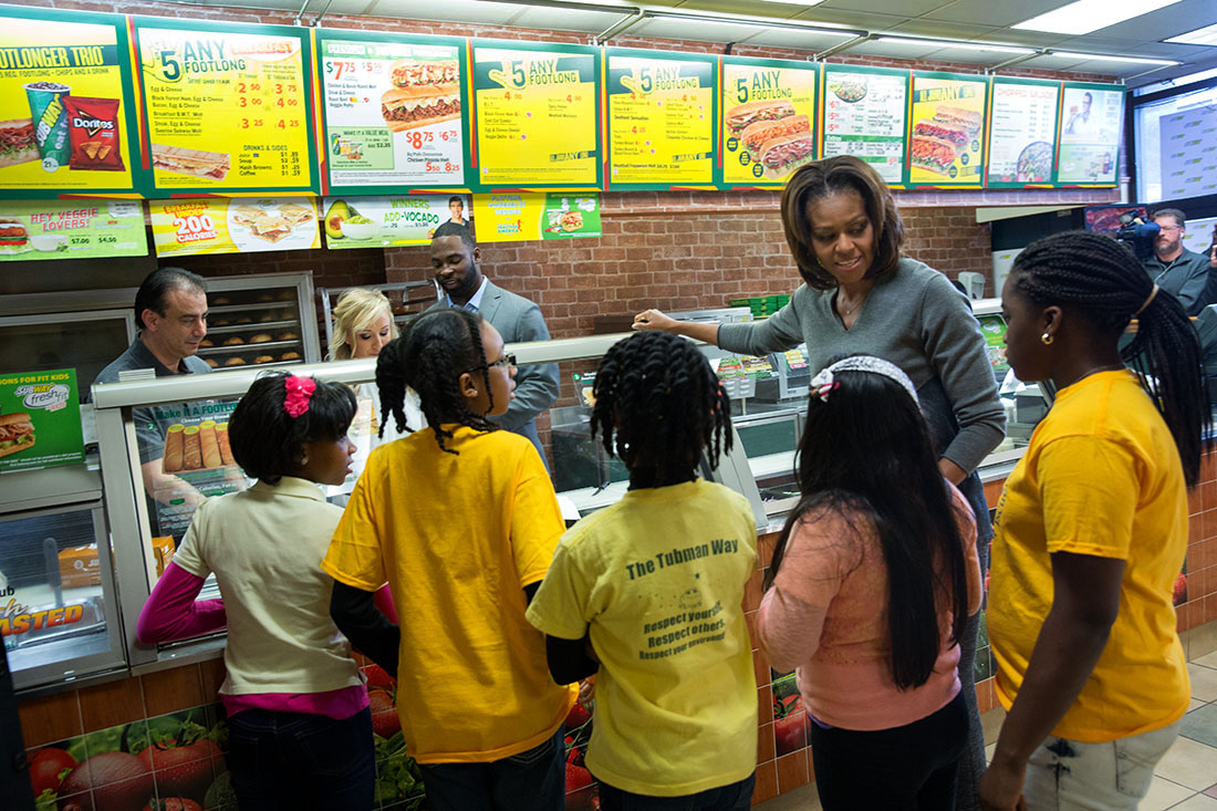 Michael Phelps, Nastia Liukin, And Justin Tuck Join First Lady Michelle  Obama As Subway Restaurants Answers Mrs Obama's Call To Market Healthier  Choices To