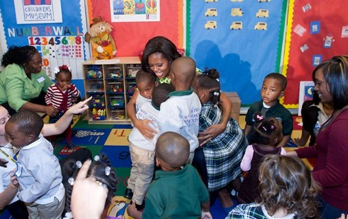 Michelle Obama at a Let's Move Child Care center