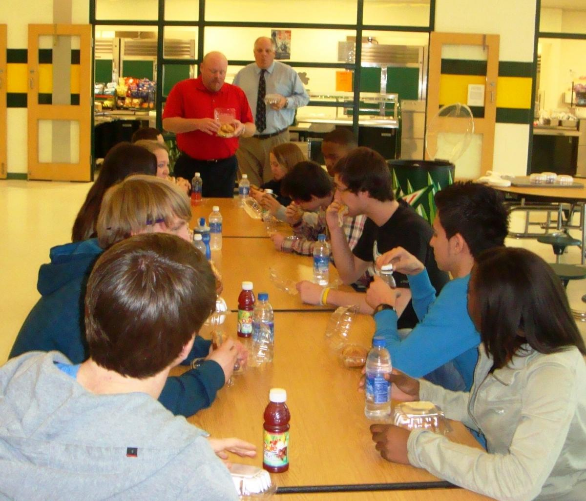Indian River High School Focus Group: Clifton Toomey, Indian River School  District Supervisor of Nutrition Services (left), and Indian River High  School ...