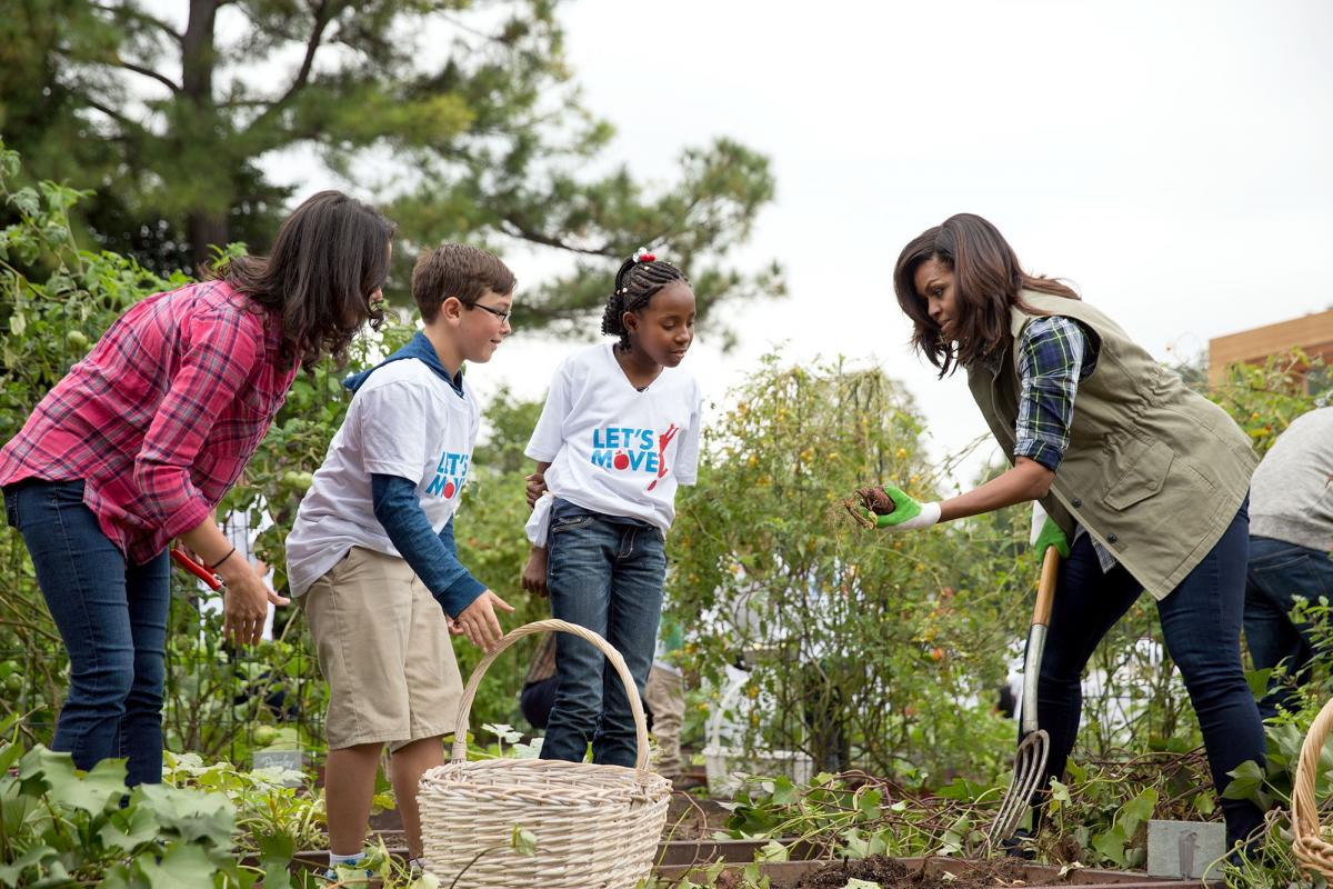 First Lady Michelle Obama and students.