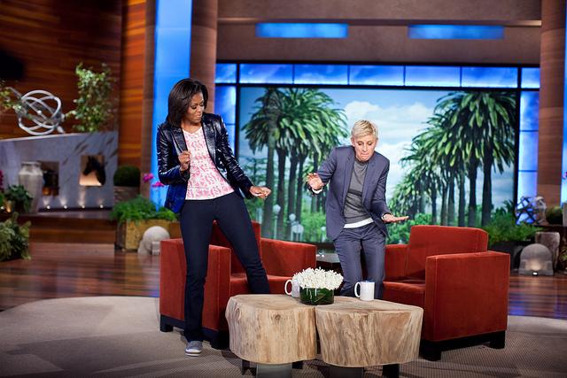 Ellen DeGeneres with Micheal Obama