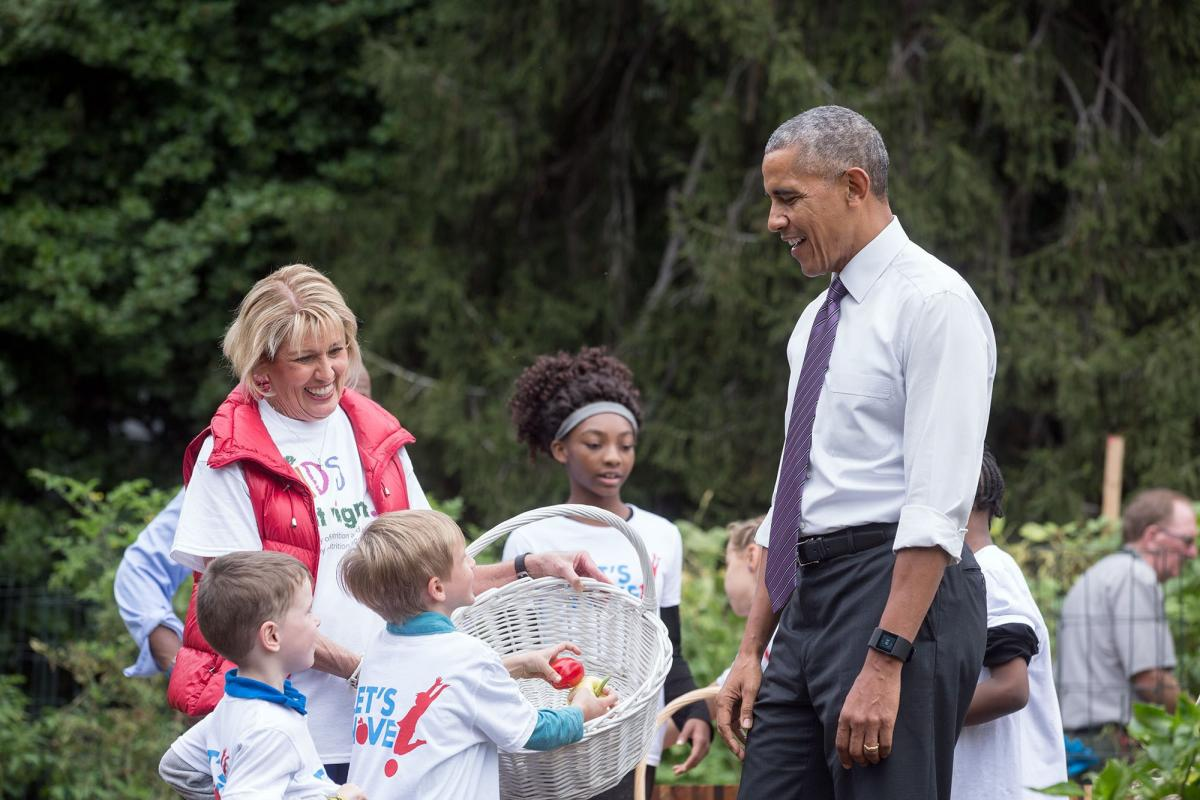 White House Kitchen Garden President Barack Obama Joins First Lady Michelle Obama For Her