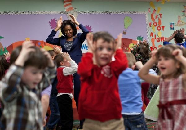"First Lady Michelle Obama does the ""Bunny Pokey"""