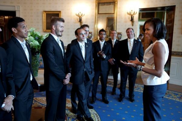 FLOTUS Welcomes the LA Galaxy to the Blue Room