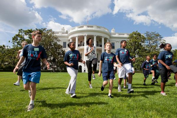 FLOTUS Gets Moving on the South Lawn