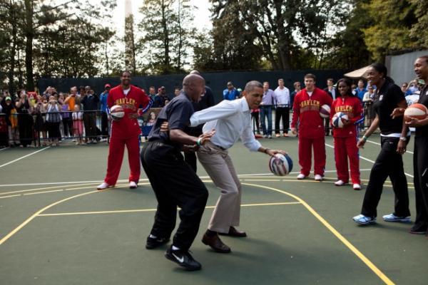 President Barack Obama Participates In A Basketball Drill