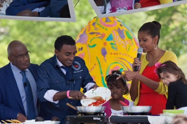 First Lady Michelle Obama Participates In A Healthy Cooking Demonstration