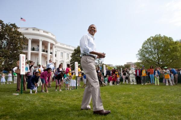 President Barack Obama Reacts To The Crowd