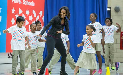 First Lady gets active with D.C. students