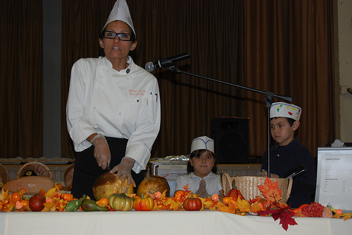Chef Melinda Burrows demonstrating different varieties of squash and pumpkins at Fremont Elementary School in Alhambra, California.