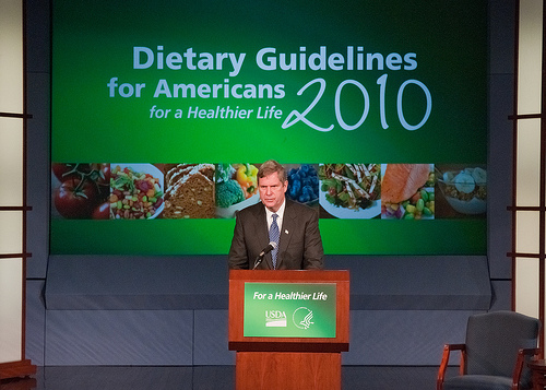 "Agriculture Secretary Tom Vilsack mentioned during the announcement of the 2010 Dietary Guidelines for Americans in the George Washington University Jack Morton Auditorium, Monday, January 31 in Washington, DC that, ""These new and improved dietary recommendations give individuals the information to make thoughtful choices of healthier foods in the right proportions and to complement those choices with physical activity."""