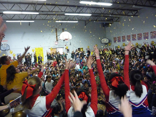 A recent USDA HUSSC event featured a rousing finale in which the entire gymnasium-filled with jumping and cheering students, teachers, administrators and partners- were showered with gold confetti.
