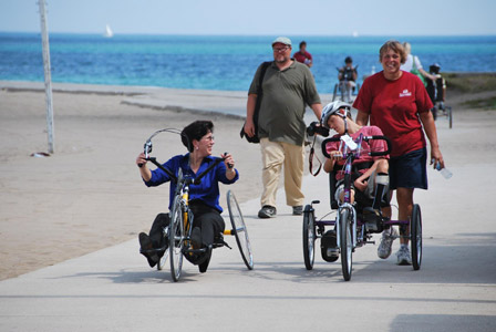 Adapted cycle lessons on North Beach