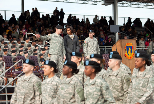 First Lady Michelle Obama is briefed by base leadership at Fort Jackson Drill Sergeant School in Fort Jackson, S.C., Jan. 27, 2011. (Official White House Photo by Samantha Appleton)