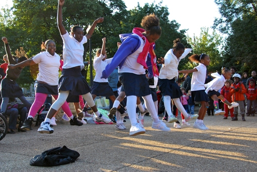Maury Elementary School cheerleaders participate in International Walk to School Day activities in Washington, DC